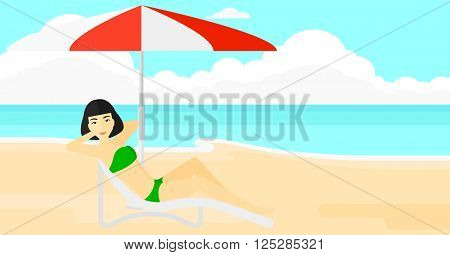 Woman sitting in chaise longue.