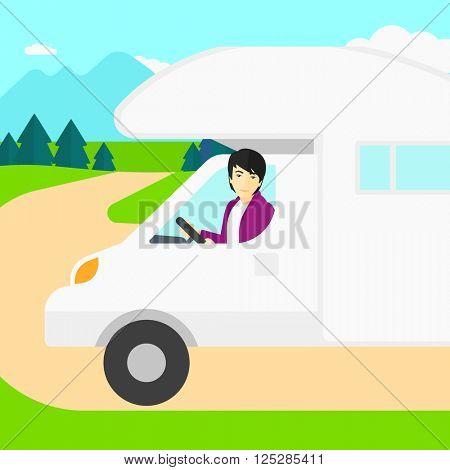 Man driving motor home.