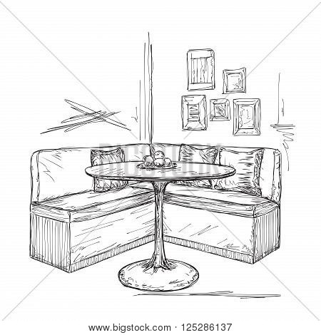 Hand drawn cafe or kitchen interior. Table and sofa sketch