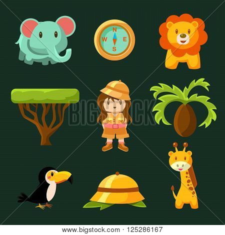 Female Jungle Explorer Collection Of Flat Vector Cartoon Style Isolated Cute Girly Drawings On Black Background