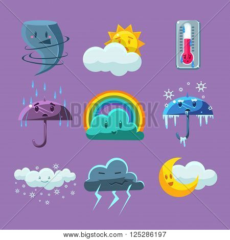 Cartoon Weather Set Of Flat Vector Cartoon Style Isolated Cute Girly Drawings On Light Blue Background