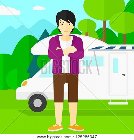 Man standing in front of motor home.