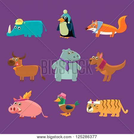 Adorable Animals Collection Of Flat Vector Cartoon Style Isolated Cute Girly Drawings On Purple Background