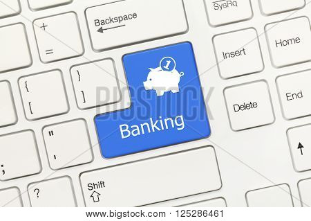 White Conceptual Keyboard - Banking (blue Key With Moneybox Symbol)