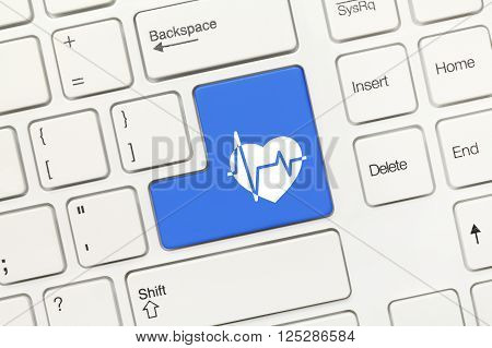 White Conceptual Keyboard - Blue Key With Healthcare Symbol