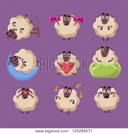 Cute Sheep Chatacter Flat Vector Emotion Icons Collection In Girly Style ISolated On Purple Background