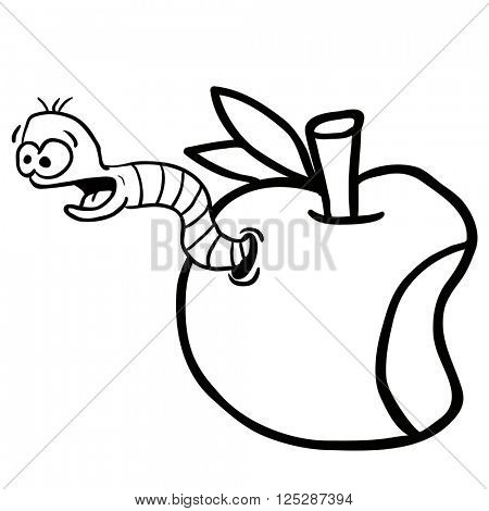 simple black and white apple with worm