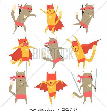 Cat Superhero Character Flat Cute Cartoon Design Vector Icon Collection On White Background