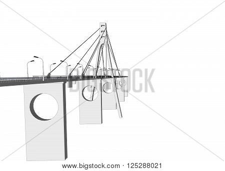 3D bridge and train, City buildings view vector illustration, buildings, , bridges on white  background. 3D arcitecture 3