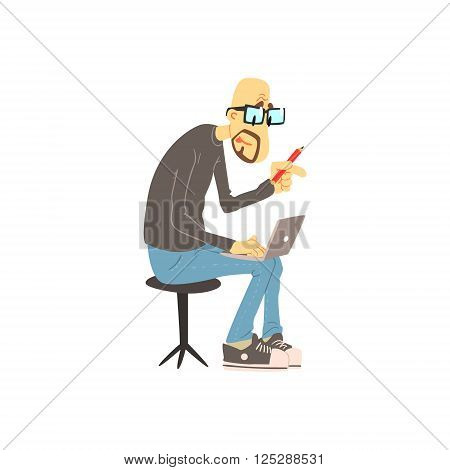 Man Working On His Lap Top  Cute Cartoon Style Flat Vector Illustration On White Background