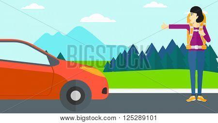 Young woman hitchhiking.