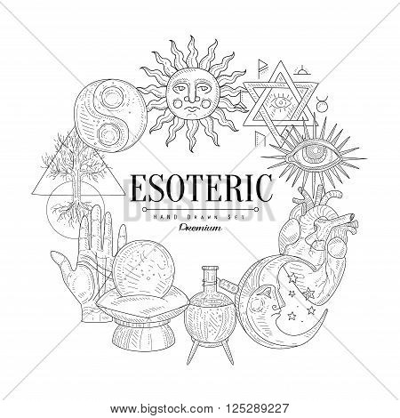 Esoteric Collection Vintage Vector Hand Drawn Design Card