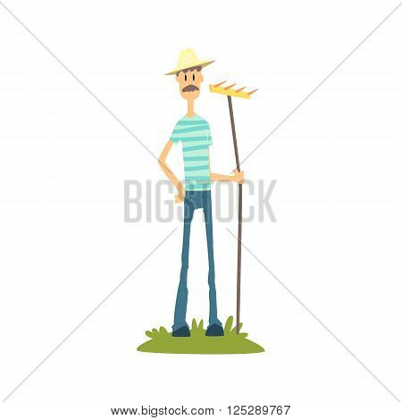 Skinny Farmer In Stripped T-shirt Flat Isolated Vector Image In Simple Childish Style On White Background