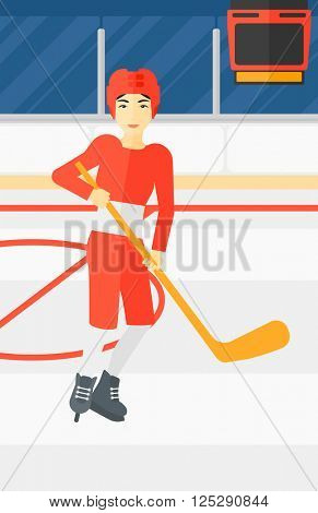 Ice-hockey player with stick.