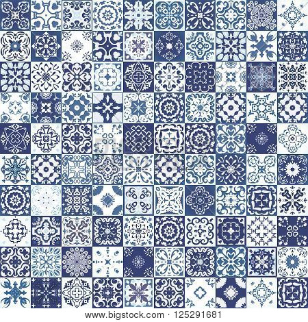Mega Gorgeous seamless patchwork pattern from colorful Moroccan tiles ornaments. Can be used for pattern fills web page backgroundsurface textures.