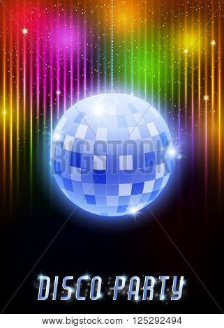 Disco Party Poster With Mirror Ball