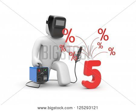 Welder and 5 percent discount. 3d illustration