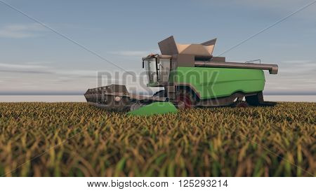 3d illustration of the grain combine in the field