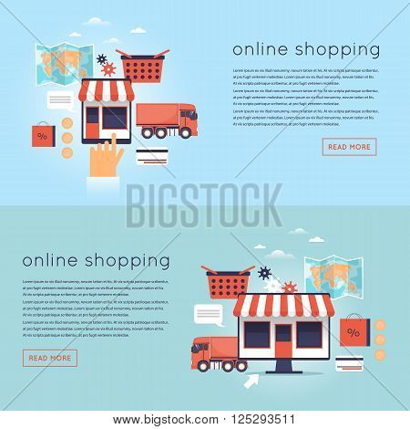 On-line Store, on-line shopping concept. Process of buying goods online. Pay per click. Flat design. Flat design.