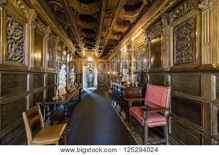 Corridor Of Antiques. Hearst Castle.