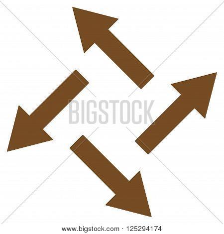 Centrifugal Arrows vector icon. Centrifugal Arrows icon symbol. Centrifugal Arrows icon image. Centrifugal Arrows icon picture. Centrifugal Arrows pictogram. Flat brown centrifugal arrows icon.
