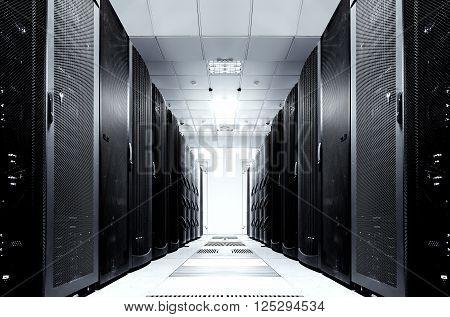 server room with modern equipment in data center