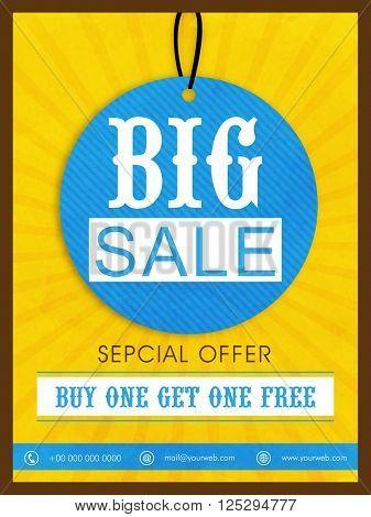 Big Sale Tag, Sale Flyer, Sale Banner, Sale Poster, Special Offer.Vector illustration.