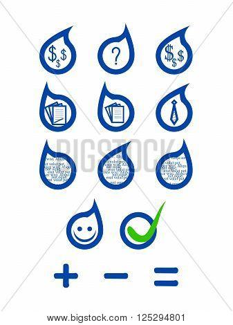 Customizable set of flat style speech bubbles with symbols or random text