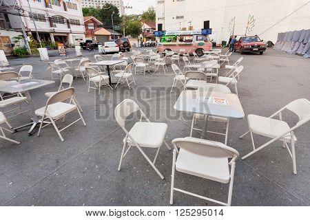 CHIANG MAI, THAILAND - FEB 20: No people area of fast food cafe waiting for customers at evening on February 20, 2016. Population of Lampang is near 59000 people