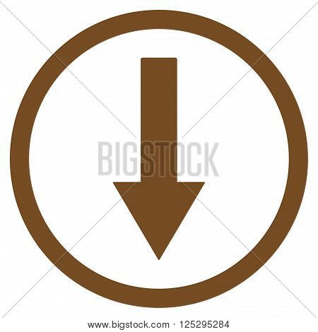 Down Rownded Arrow vector icon. Down Rownded Arrow icon symbol. Down Rownded Arrow icon image. Down Rownded Arrow icon picture. Down Rownded Arrow pictogram. Flat brown down rownded arrow icon.