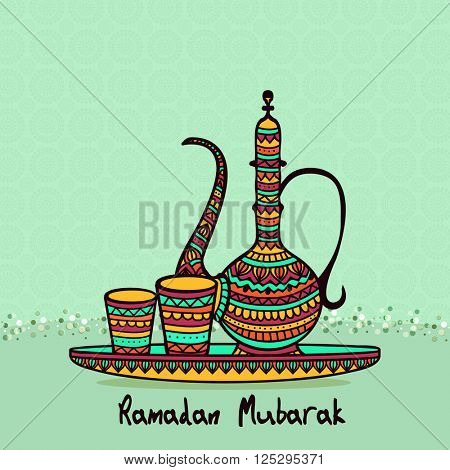 Colourful floral design decorated jug with glass on seamless green background for Holy Month of Muslim Community, Ramadan Mubarak.