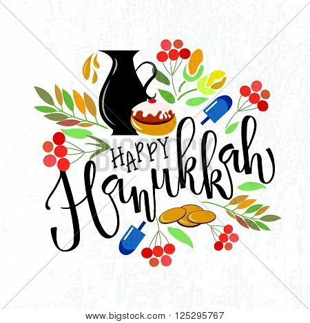 Happy Hanukkah Lettering Typography.vector Collection Of Labels And Elements For Hanukkah