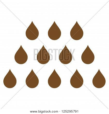 Drops vector icon. Drops icon symbol. Drops icon image. Drops icon picture. Drops pictogram. Flat brown drops icon. Isolated drops icon graphic. Drops icon illustration.