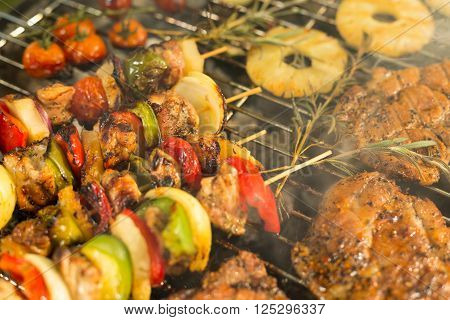 Grilled Meat, Shashliks And Pineapple
