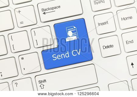 White Conceptual Keyboard - Send Cv (blue Key)