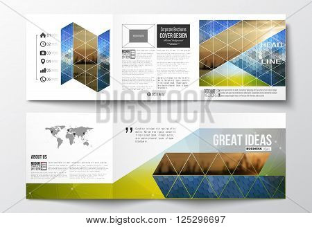Vector set of tri-fold brochures, square design templates with element of world map. Abstract colorful polygonal background with blurred image on it, modern stylish triangular and hexagonal vector texture.