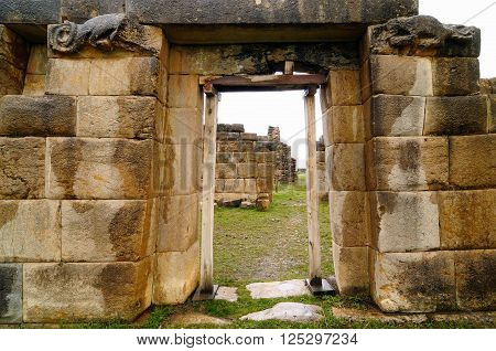 South America - La Union is ruins of the incan Huanuco Viejo city in Peru