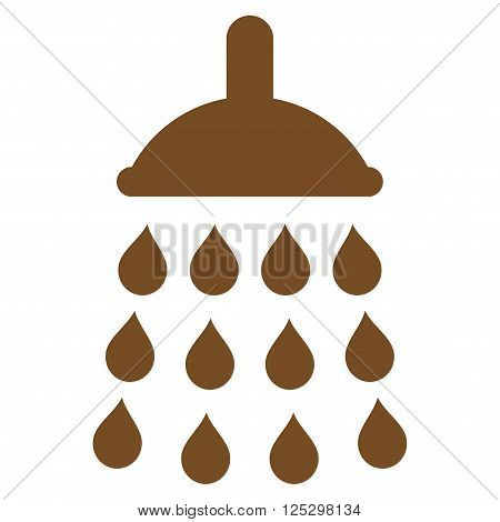 Shower vector icon. Shower icon symbol. Shower icon image. Shower icon picture. Shower pictogram. Flat brown shower icon. Isolated shower icon graphic. Shower icon illustration.