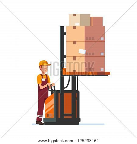 Warehouse worker operating electric fork lifter with stacked boxes. Modern flat style vector illustration isolated on white background.