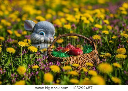 Easter Eggs In Basket And Rabbit