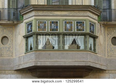 The bay window of an apartment house in Girona