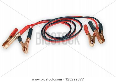 Two jumper cables for car isolated on white background