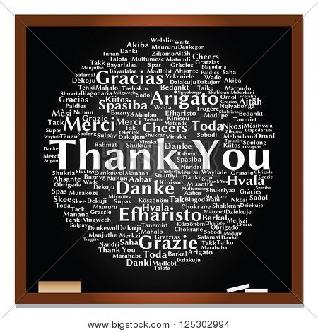 concept or conceptual blackboard thank you word cloud, different languages or multilingual for education or thanksgiving day