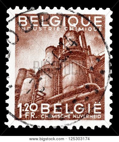 BELGIUM - CIRCA 1948 : Cancelled postage stamp printed by Belgium, that shows Chemical industry.