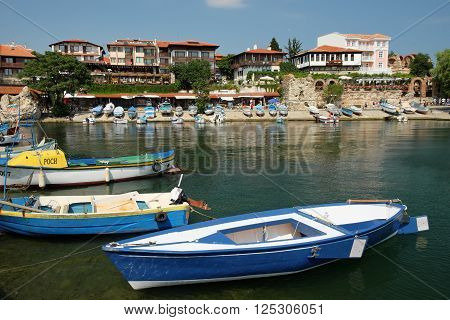 NESSEBAR BULGARIA - JULY 21: View on street Angelo Roncalli and southern harbour on July 21 2015 in old town of Nessebar Bulgaria. Ancient city of Nessebar is a UNESCO world heritage site.