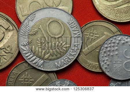 Coins of Finland. Rowan tree branches and berries depicted in the Finnish 10 markka coin (1993).