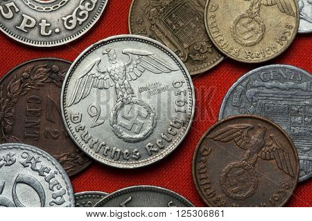 Coins of Nazi Germany. Nazi eagle atop swastika depicted in the German two Reichsmark coin (1939).