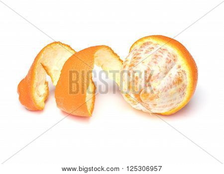 Partially peeled Tangelo on a white background