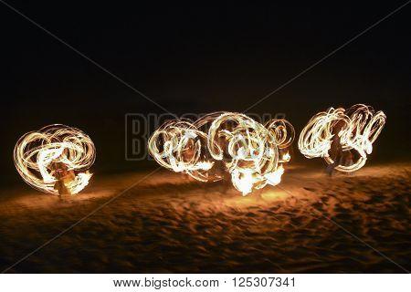 A spectacular fire show in Nadi, Fiji
