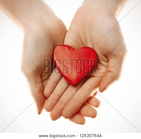 Decorative heart in female hands, isolated on white
